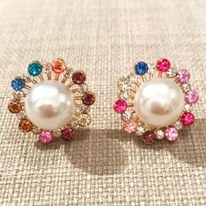 Pearl and Gem Starburst Earrings